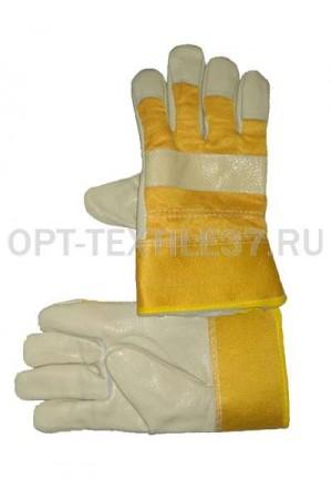 Перчатки комбинированные кожаные утеплённые.